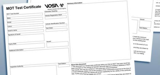 VOSA MOT test certificate