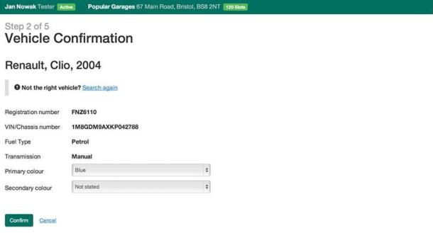 Screenshot of vehicle confirmation page