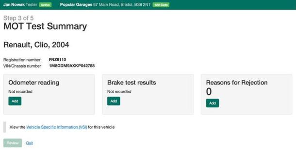 Screenshot of MOT test summary with odometer reading, brake test results and reasons for rejection areas to add information to