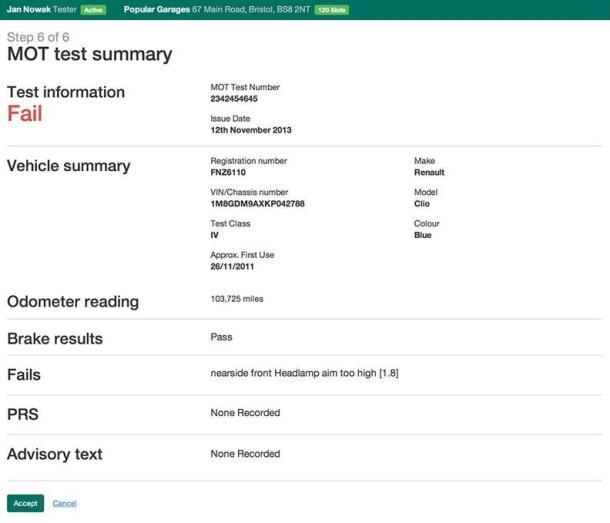 Screenshot showing MOT fail information