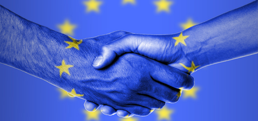 Blue EU Directive image of 2 hands shaking surrounded by EU stars