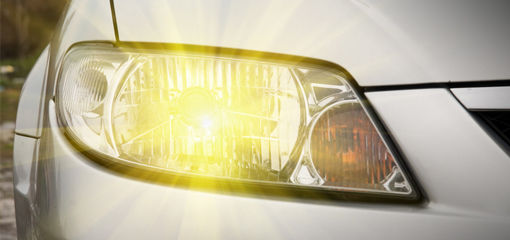 lit vehicle headlight