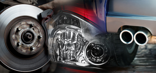 composite picture, brake disc, headlight and exhaust pipe