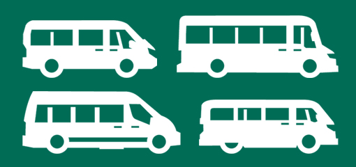 Outline of four mini buses on turquoise background