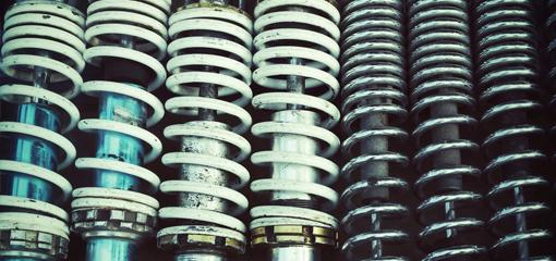 row of shock absorbers