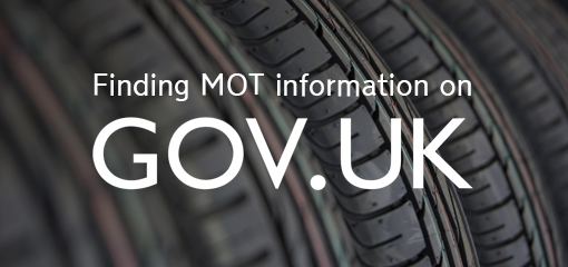 Finding MOT info on GOV.UK written on picture of tyres