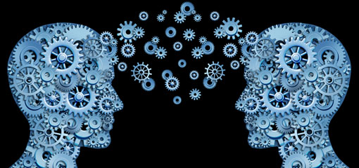 Everything you need to know - cogs made into a picture of 2 peoples' heads