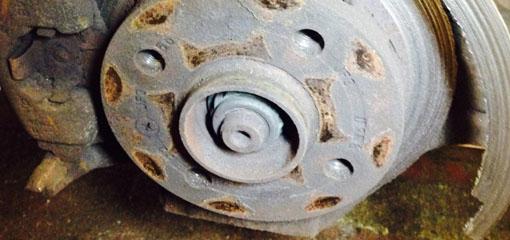 Broken brake disc close up