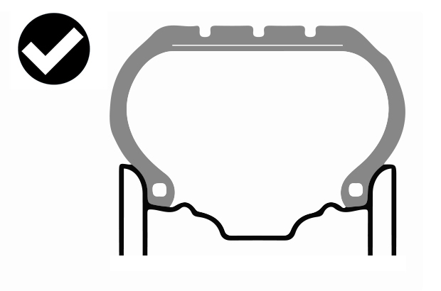 Diagram of a correctly seated tyre. The tyre bead sits on the wheel rim as intended by the manufacturer.