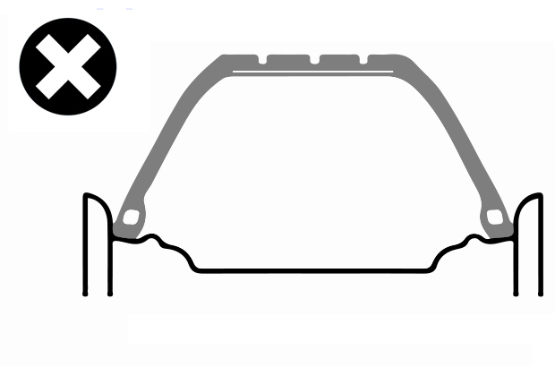 Diagram of an incorrectly seated tyre. Due to the tyre being stretched the tyre is no longer correctly seated on the wheel rim.