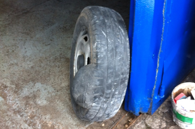 Damaged tyre with massive bulge to sidewall