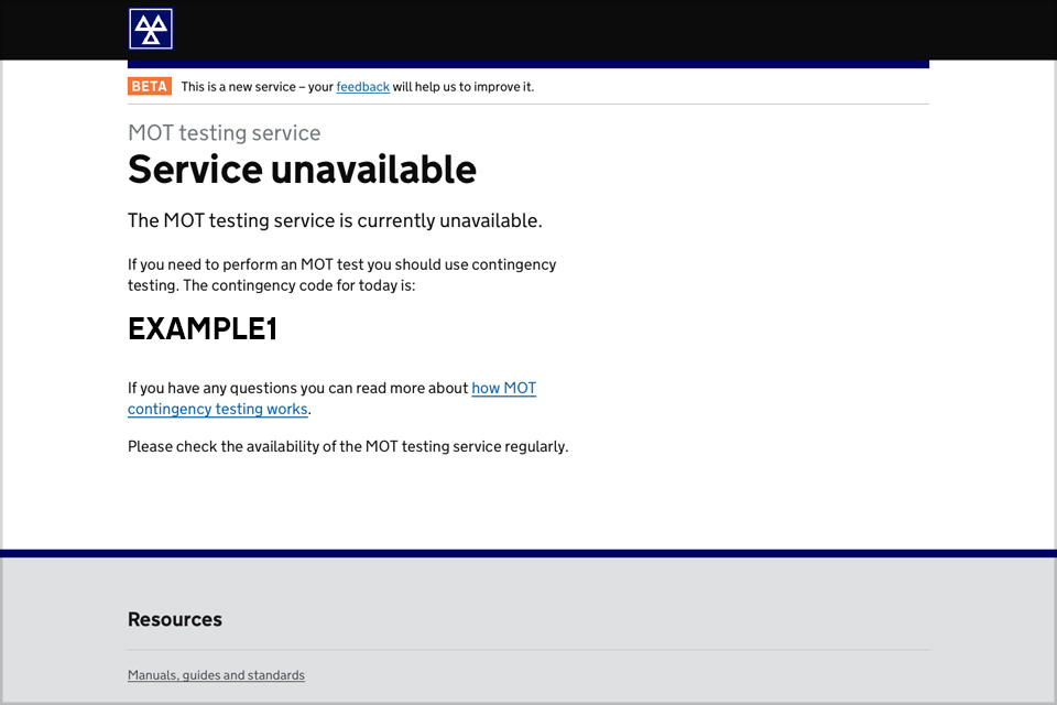 Page showing MOT service unavailable and wording to explain