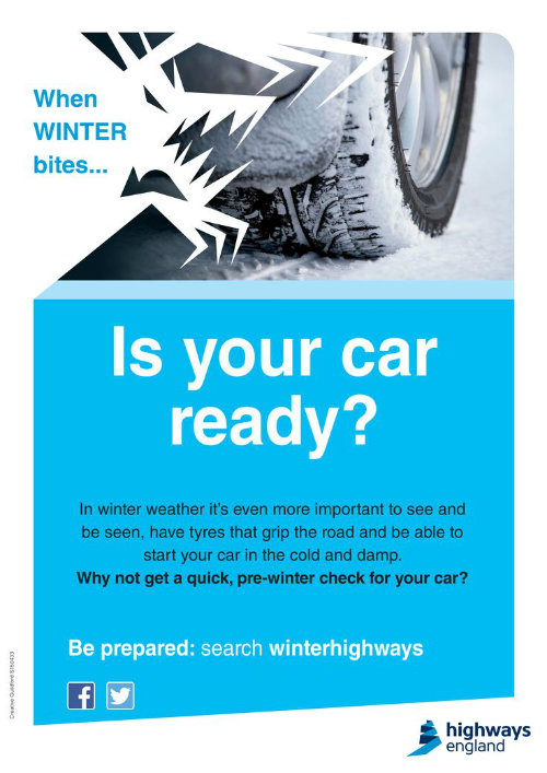 Is your car ready poster to remind your to check your tyres in bad weather