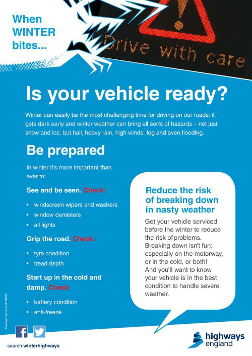 vehicle ready info sheet detailing what to do to make your vehicle ready for bad weather including being prepared and checking