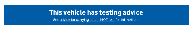 This vehicle has testing advice banner