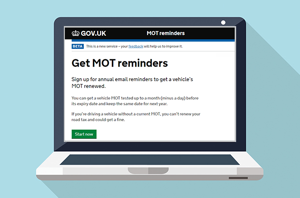 Get MOT reminders screen on computer