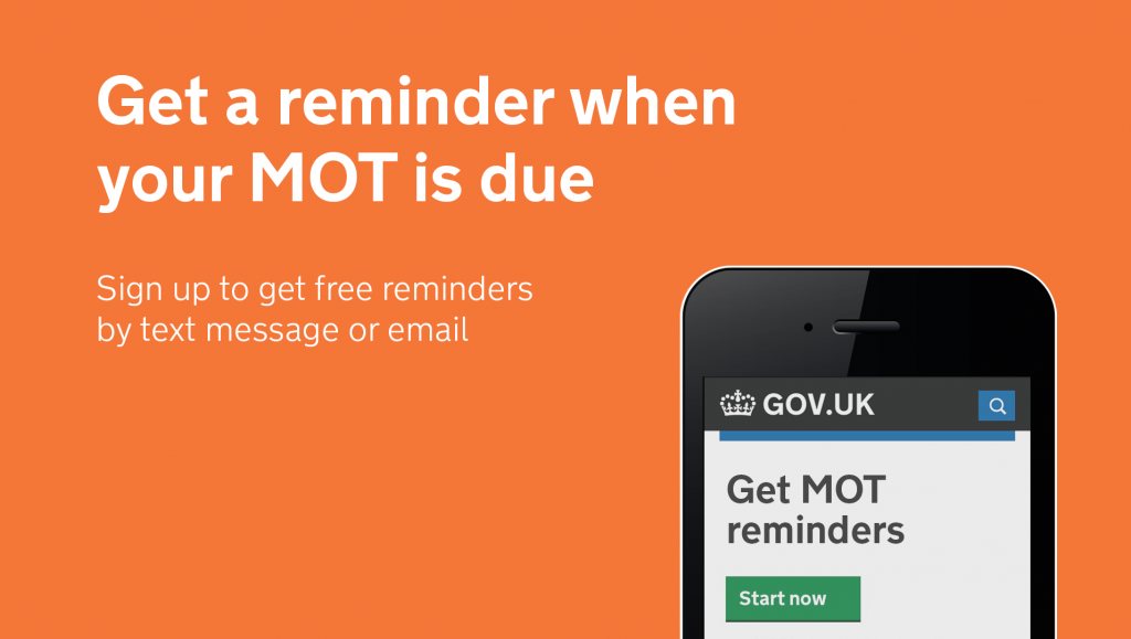 Get an MOT reminder graphic on phone