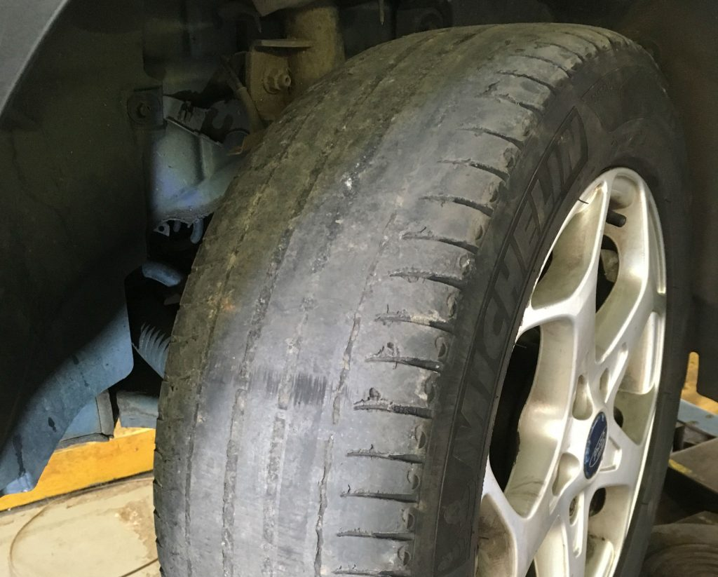 Picture of bald tyre
