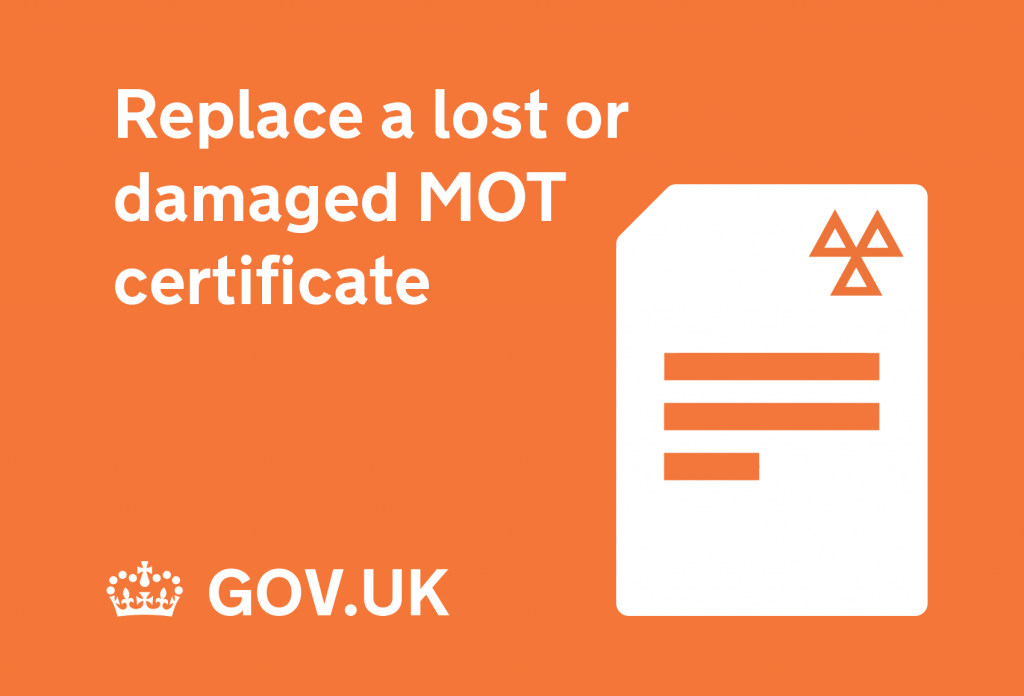 Replace a lost or damaged MOT certificate graphic