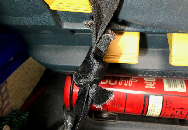 image of seatbelt tied in know