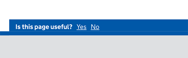 a screenshot showing a section of a GOV.UK where you are asked if the page is useful.