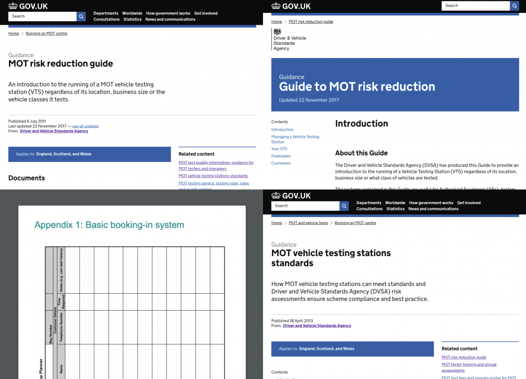Image showing screenshots of 3 web pages and one PDF document that used to be published about managing an MOT centre