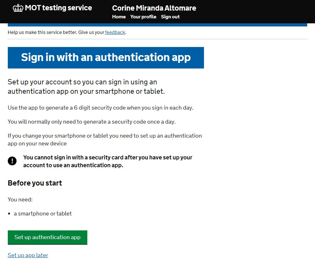Sign in with an authentication app image