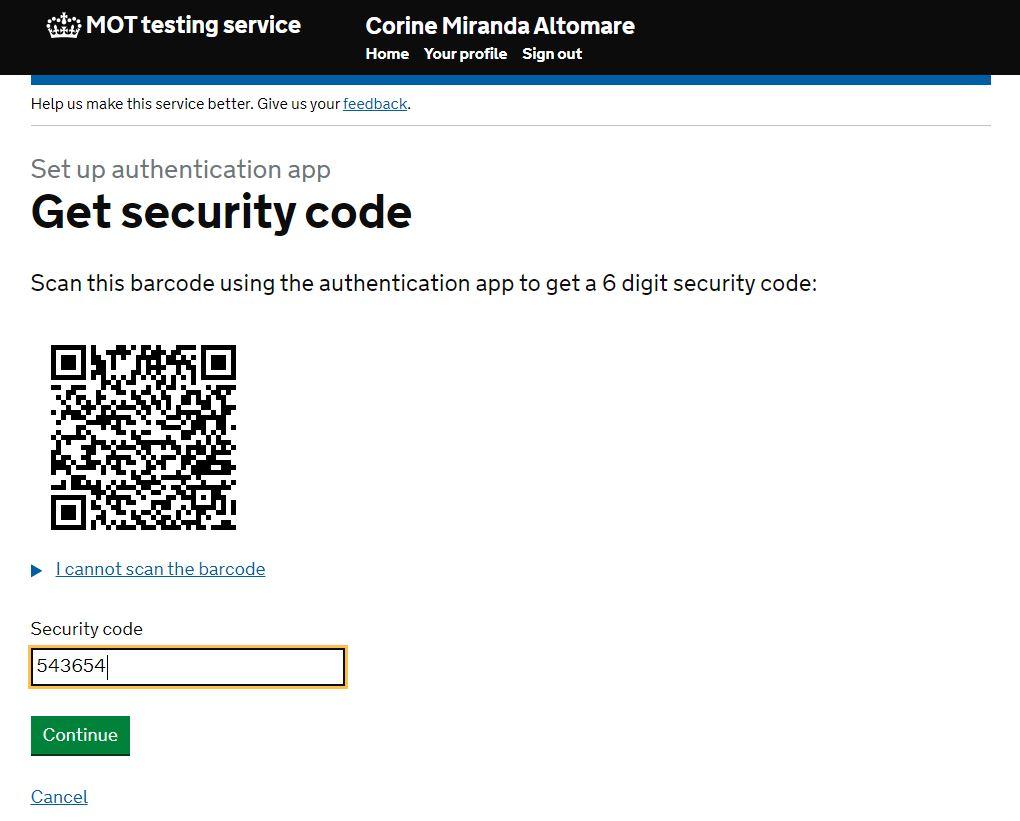 MFA security code QR code
